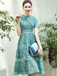 Green Hollow Out Lace Swing Midi Dress