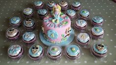 Little girl cake and cupcakes