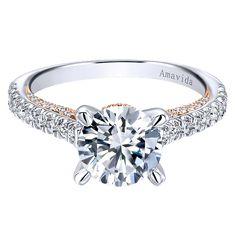 Ella 18k White/pink Gold Round Straight Engagement Ring angle 1