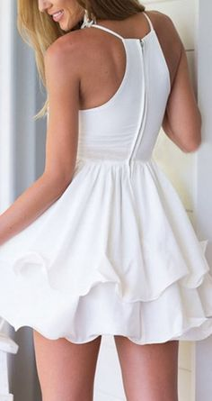 Elegant White Sexy Deep V Neck Spaghetti Strap Mini dress! More at http://www.cutedresses.co/product/sexy-deep-v-neck-spaghetti-strap-pleated-ruffle-short-skater-mini-dress/