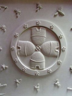the cat and the bee: Plaster Ceiling Bee Motif at Buckland Abbey