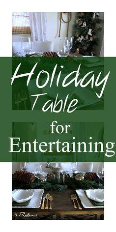 Thanksgiving or Christmas Tablescape for entertaining family and friends. Christmas Tablescapes, Holiday Tables, Thanksgiving, Entertaining, Home Decor, Christmas Tables, Christmas Placemats, Interior Design, Home Interior Design