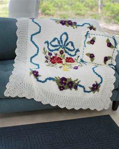 English Garden Afghan and Pillow Crochet Pattern