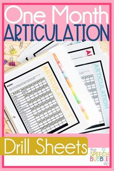 Research-supported and easy to use, these articulation printable drill sheets are going to be an asset to your speech therapy classroom!  Enjoy easily tracking your data as you go along with your language student. Printable and no prep needed! #SLP #speech #therapy #language #artic #SPED #english #drill #practice #tracking #data #TpT #printable
