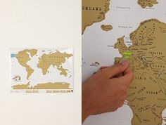 A world map where you can scratch off the surface to show where you've been.