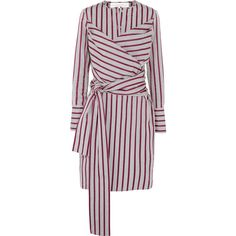 Victoria, Victoria Beckham Tie-front striped cotton shirt dress (1.215 RON) ❤ liked on Polyvore featuring dresses, grey, grey dress, striped dresses, long shirt dress, tie front dress and cotton dress