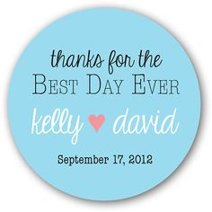 """30 Glossy 1.5"""" Round Sticker Label Tags  - Custom Wedding Favor & Gift Tags - Choice of Colors - Thanks For The Best Day Ever Heart on Etsy, $5.75"""