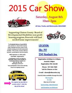 Fun event for a great cause - 2015 Car Show at the Elk's Club in Wilmington, Ohio! Classic cars, fast cars, motorcycles & more to benefit Employment First Clinton County Board of DD on Aug. 8: http://clintoncountyohio.com/list/parks/797-elks-golf-club  #CarShow #carshows #golf #Elks #motorcycles #charity #VisitClintonCounty #Ohio #classiccars #fastcars