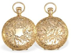 Taschenuhr: außergewöhnlich schöne Goldsavonnette von Waltham, ca.1887 Ca. Ø36mm, ca. 45g, 14K R