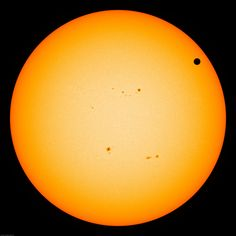 Today Venus moves in front of the Sun. One way to follow this rare event is to actively reload the above live image of the Sun during the right time interval and look for an unusual circular dark dot. The smaller sprawling dark areas are sunspots. The circular dot is the planet Venus. The dark dot will only appear during a few very specific hours, from about 22:10 on 2012 June 5 through 4:50 2012 June 6, Universal Time. This transit is the rarest type of solar eclipse known --