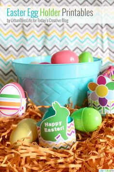 Free Printable Easter Egg Holders designed by UrbanBlissLife for TodaysCreativeBlog.net