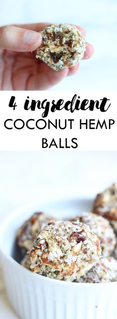 4 Ingredient Coconut Hemp Balls | Packed with plant based protein for a dairy free, gluten free, and vegan energy ball! | Lean, Clean, & Brie
