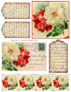 Roses & Poetry printable.  Includes: 2 x 2 inch graphics, 1 postcard image, 4.5 x 4.5 inch rose graphic, and 3 tags with handwritten poem.