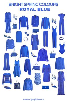 BRIGHT SPRING COLOURS_ROYAL BLUE Clear Spring, Bright Spring, Warm Spring, Warm Autumn, Winter Colors, Spring Colors, Spring Scene, Spring Color Palette, Seasonal Color Analysis