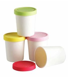 This little set of home made ice-cream storers are simply gorgeous!  The set has 4 white plastic containers with brightly coloured silicone lids in pink, lemon, raspberry & mint are so handy. #bpafree Ice Cream At Home, Summer Ice Cream, Make Ice Cream, Ice Cream Containers, Kitchen Dinning Room, Educational Toys For Kids, Storage Tubs, Food Storage Containers, Plastic Containers