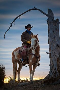 Cowboy and his horse at sunrise on a ranch in northweastern Wyoming / Camera/lens: Canon Mk II, Canon EF IS / Place: Hulett, WY Cowgirl And Horse, Cowboy Art, Horse Love, Horse Riding, Real Cowboys, Cowboys And Indians, Cowboy Pictures, Horse Pictures, Western Riding
