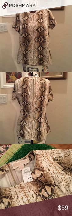 """Michael Michael Kors Snake Print top Michael Michael Kors Snake Print zip back Tee, Faux leather look, NWT, overall length 24"""", Bust 37"""", Cream and Browns MICHAEL Michael Kors Tops Tees - Short Sleeve"""