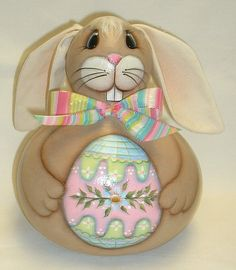 Gourd Easter Bunny with Easter Egg  Hand Painted by FromGramsHouse,