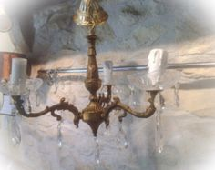 Check out Gorgeous French Vintage Bronze and cut glass Chandelier Pendant Light. #19 on fleursenfrance