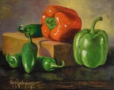 Still Life Art, Peppers Painting,Red and Green Peppers,Original Oil on Canvas…