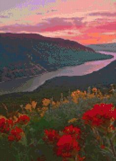 Oregon Columbia River Gorge landscape Cross Stitch pattern PDF - Instant Download! by PenumbraCharts on Etsy