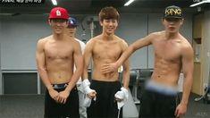 Donghyuk, Yunhyeong & Bobby. And their abs...