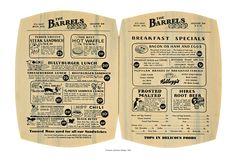 The Barrels, Kalamazoo Vintage Menu 1930s Diner Menu, 1930s prices