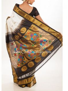 White #paithani saree with black border