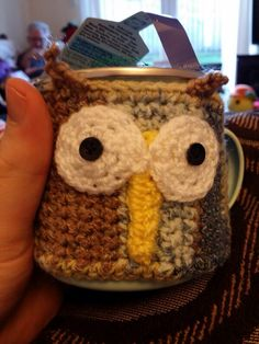 my friends cute owl mug #homemade #knitted #owl #tea