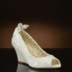 Flora by Perfect Bridal Shoe Company. Choose from the largest selection of wedding shoes from top designers at My Glass Slipper. Wedding Wedges, Wedge Wedding Shoes, Bridal Shoes, Groomsmen Attire Beach Wedding, Beach Wedding Groomsmen, Wedding Dress With Veil, Lace Wedding, Wedding Ceremony Seating, Lace Wedges