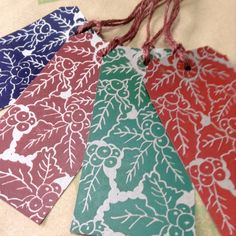 Set of four Handprinted Christmas Gift Tags £3.00