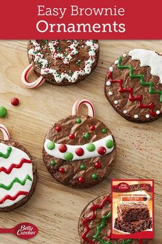 Easy-to-decorate brownie ornaments make a fun holiday project for kids of all ages! Expert tip: To evenly cut candy canes, cut with scissors while still in the wrapper, then unwrap and use.