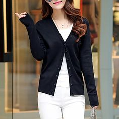 Women's Going out / Casual/Daily Simple / Cute Regular Cardigan,V Neck Long…