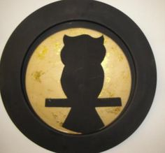 Midnight Moon and Owl Silhouette on large metal Plate by SharonsStudio for $25.00