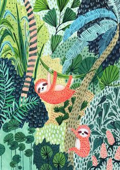 Luiaard / Jungle / Sloth Print / botanische illustratie / | Etsy