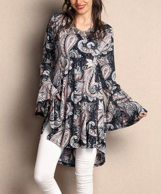 Navy Paisley Surplice Tunic - Plus by Reborn Collection #zulily #zulilyfinds