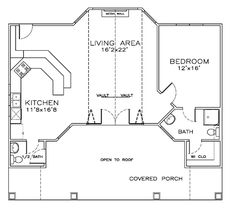 First Floor Plan Of Coastal Cottage Craftsman House Plan 932 Sq. One  Bedroom, One And A Half Bathroom.