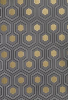 Hicks' Hexagon Wallpaper Small Geometric Design design wallpaper in Grey and Charcoal with metallic gold embellishment.