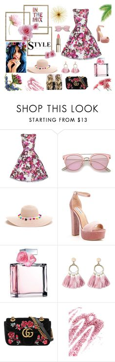 """Summer floral"" by lilmayxox on Polyvore featuring Steve Madden, Ralph Lauren, SUGARFIX by BaubleBar, Gucci, Obsessive Compulsive Cosmetics, Summer, dress and floralprint"
