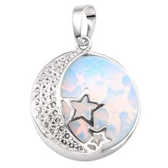 JOVIVI Natural Gemstones Moon and Star Healing Crystal Chakra Pendant Necklace with 21.5in Stainless Steel Chain: Amazon.co.uk: Jewellery