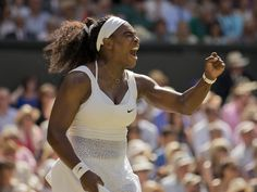 Serena Williams celebrates a big point against Garbine Muguruza during the title match at Wimbledon in London. Williams won 6-4, 6-4 for her 21st career Grand Slam championship.  Susan Mullane, USA TODAY Sports