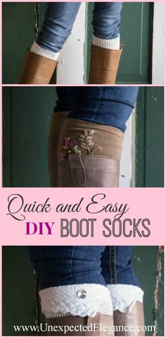 Quick and Easy Boot Socks. NO SEW and super cute!! Great tip for adding embellishments without sewing. #diy