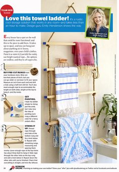 DIY Towel Ladder in Redbook - Emily Henderson