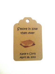 25 S'more Favor Tags / Wedding / Favor / Program / Recepetion / Rustic / Smore. $7.00, via Etsy.