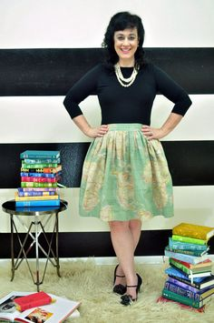 Map Print Skirt full Gathered skirt very classic by SandeeRoyalty