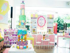 Geometric Candyland Birthday Party in 2020 Slumber Party Games, Carnival Birthday Parties, Birthday Party Games, Monster High Birthday, Ninja Turtle Birthday, Turtle Party, Party Themes, Party Ideas, Little Girl Birthday