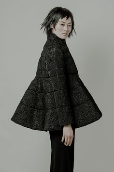 Sculptural Fashion - black flared coat with exaggerated silhouette // Co Resort 2015