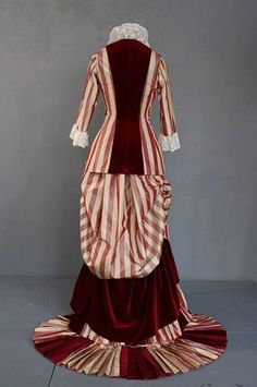 1880 silk taffeta and velvet dress, back view. Need to find the rest of the views