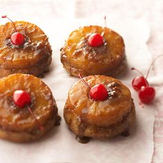 Shrink pineapple upside-down cake into single-serving desserts that are bound to impress. Each cake is topped with a slice of caramelized pineapple.