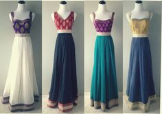 A modern twist to regency era style dresses. Anarkali Dress, Pakistani Dresses, Indian Dresses, Indian Outfits, Lehenga, Anarkali Suits, Punjabi Suits, Ethnic Dress, Indian Ethnic Wear